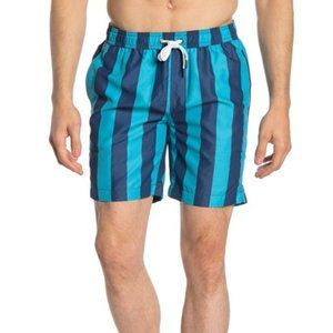 Onia Charles Stripe Print Swim Trunks Teal NWT